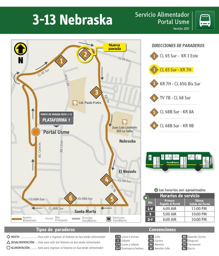 Mapa donde se localiza el paradero 2 de la ruta alimentadora 3-13- Nebraska
