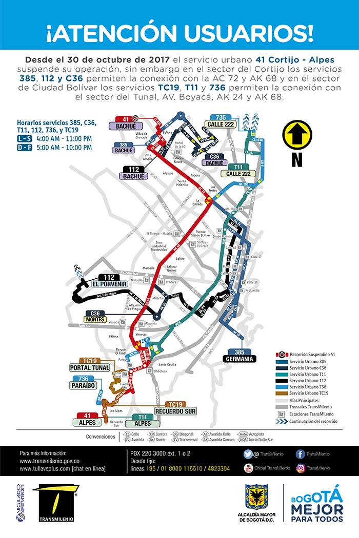 Mapa de la ruta zonal 41 suspensión