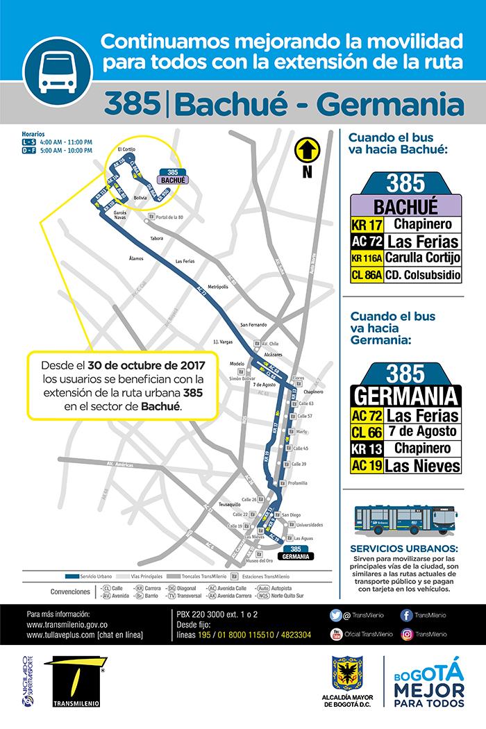Mapa de la ruta zonal 385 con su  ajuste operacional