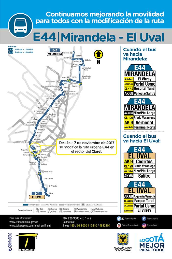 Imagen con el mapa de la ruta zonal E44 con su ajuste operacional