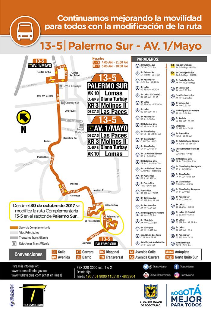 Mapa de la ruta zonal 13-5 con su ajuste operacional