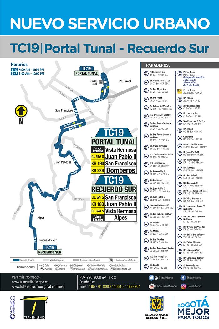 Recorrido de la ruta TC19 Portal Tunal - Recuerdo Sur