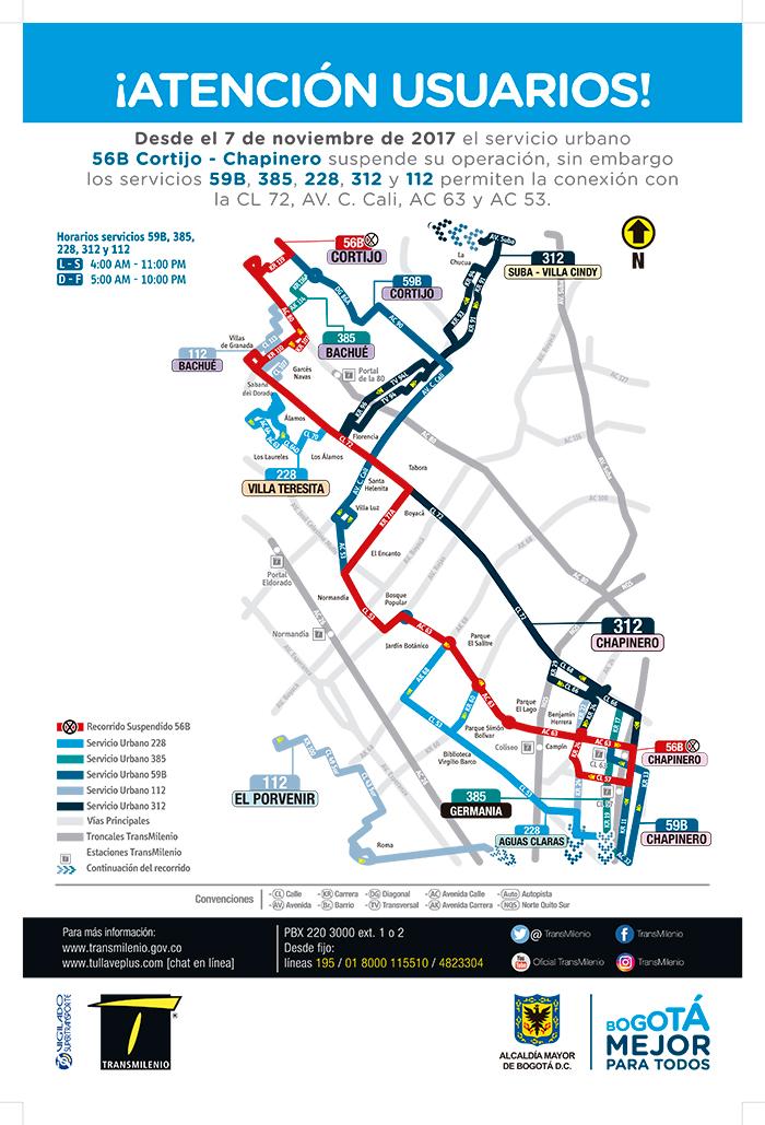 Mapa con las alternativas  al suspenderse la ruta urbana 56B