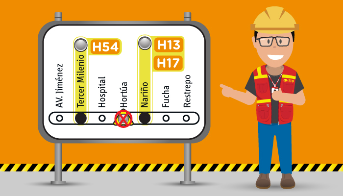 Imagen indicando la No parada de los servicios troncales H54, H13 Y H17