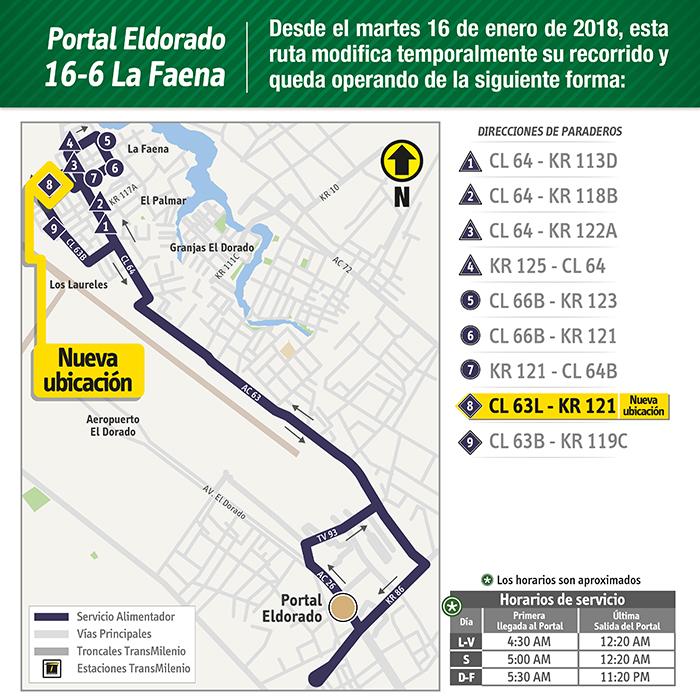 Novedad  del a ruta alimentadora 16-6 La Faena en su octavo paradero