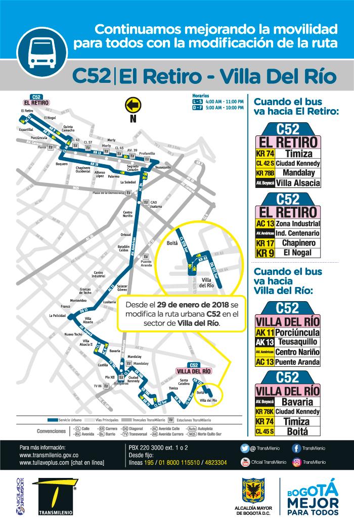 Mapa de la ruta urbana C52