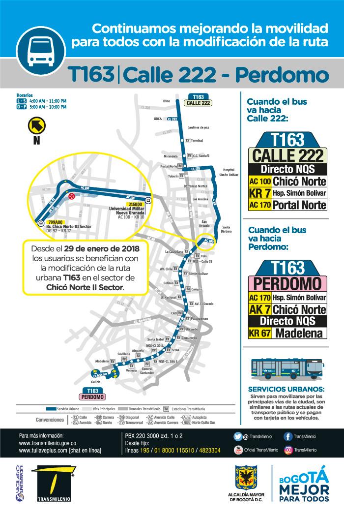 Mapa de la ruta urbana T163 con ajuste para le 29 de enero de 2018