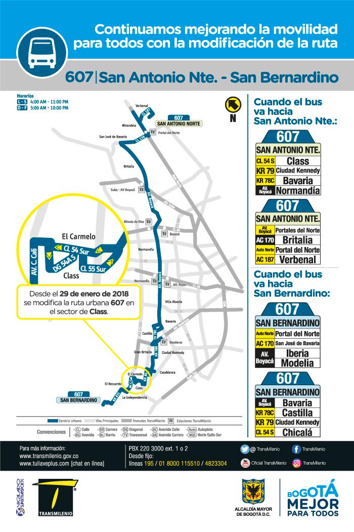 Mapa de la ruta urbana 607 San Antonio Norte San Bernardino