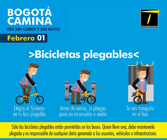 infografía se explica el uso de la bicicletas plegables en el Sistema TransMilenio