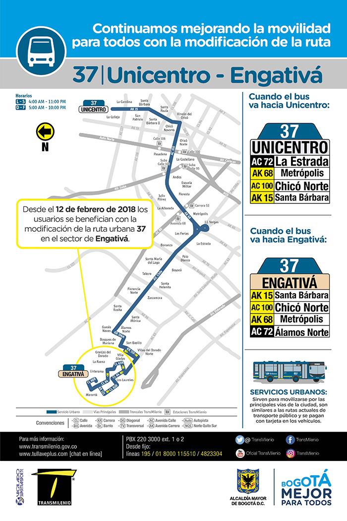 Mapa de la ruta urbana 37 con su modificación