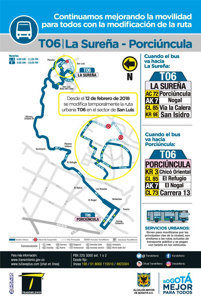 Mapa de la ruta T06 con el cambio operacional