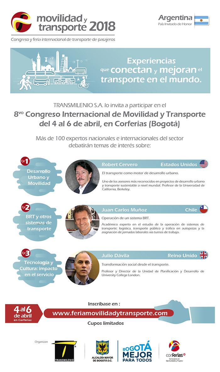 Invitados para el congreso y la feria de movilidad y transporte 2018