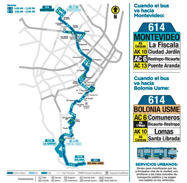 Nuevo trazado de la ruta urbana 614  Montevideo Bolonia Usme