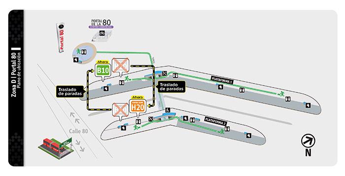 Plano de plataformas del portal 80 con sus ajustes