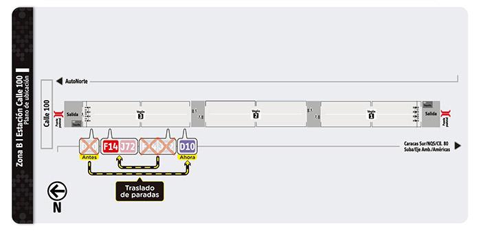 Plano de la estación de la estación Calle 100
