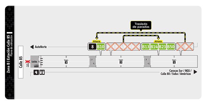 Plano de la estación Calle 85  con sus ajustes