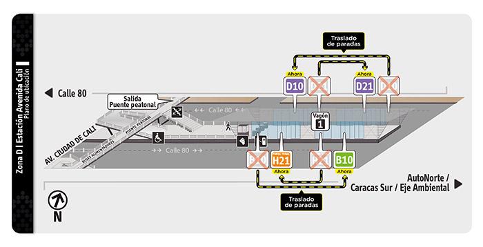 Plano de estación de la Avenida Cali con ajustes