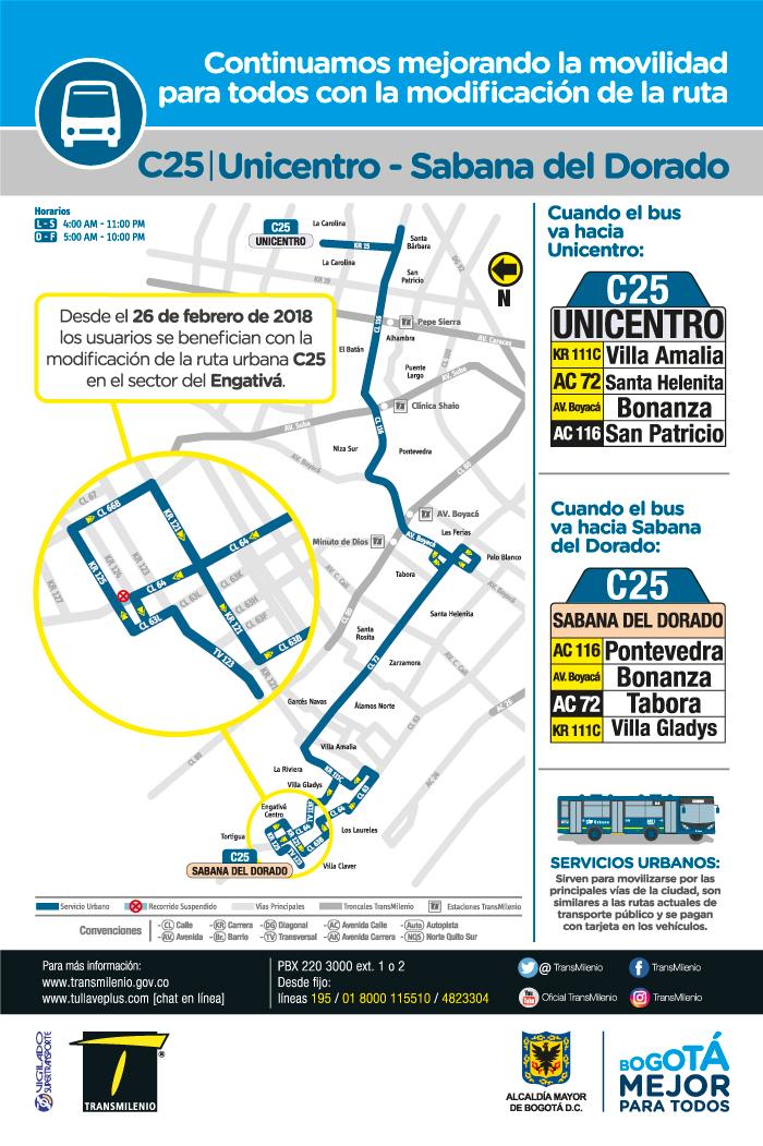 Mapa de la ruta urbana C25 con el ajuste