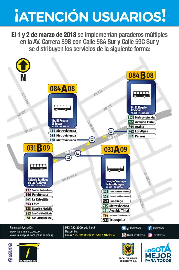 Imagen de la ubicación del paradero múltiple Avenida Carrera 89B con Calle 58A Sur y Calle 59C