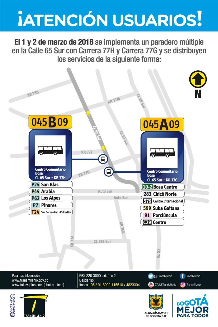 Imagen de la ubicación del paradero múltiple Calle 65 Sur con Carrera 77H y Carrera 77G.