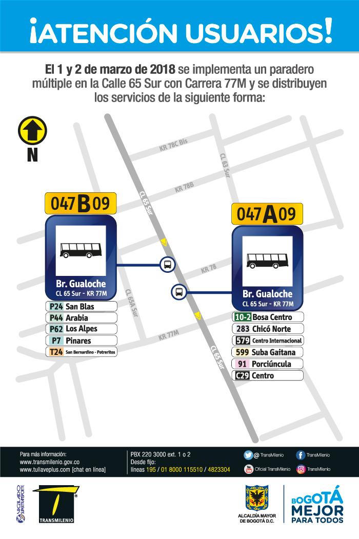 Imagen de la ubicación del paradero múltiple Calle 65 Sur con Carrera 77M.