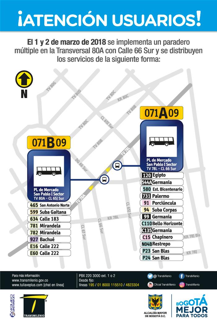 Imagen de la ubicación del paradero múltiple Transversal 80A con Calle 66 Sur.
