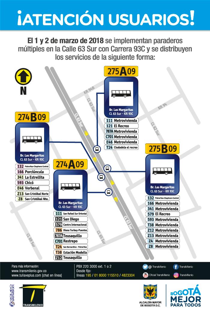 Imagen de la ubicación del paradero múltiple Calle 63 Sur con Carrera 93C.