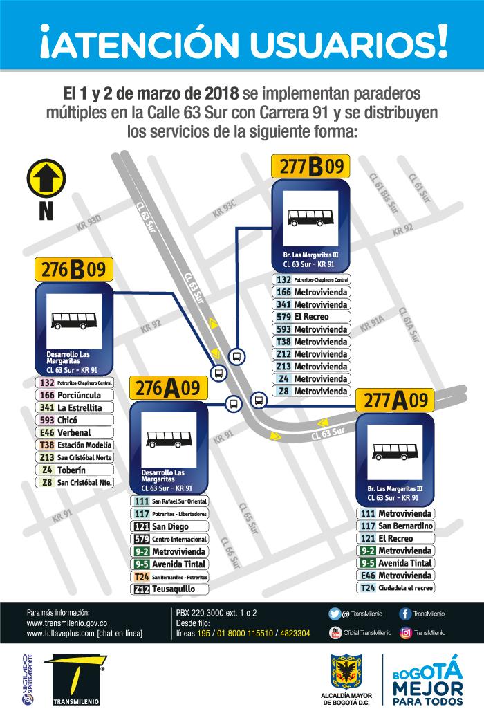 Imagen de la ubicación del paradero múltiple Calle 63 Sur con Carrera 91.