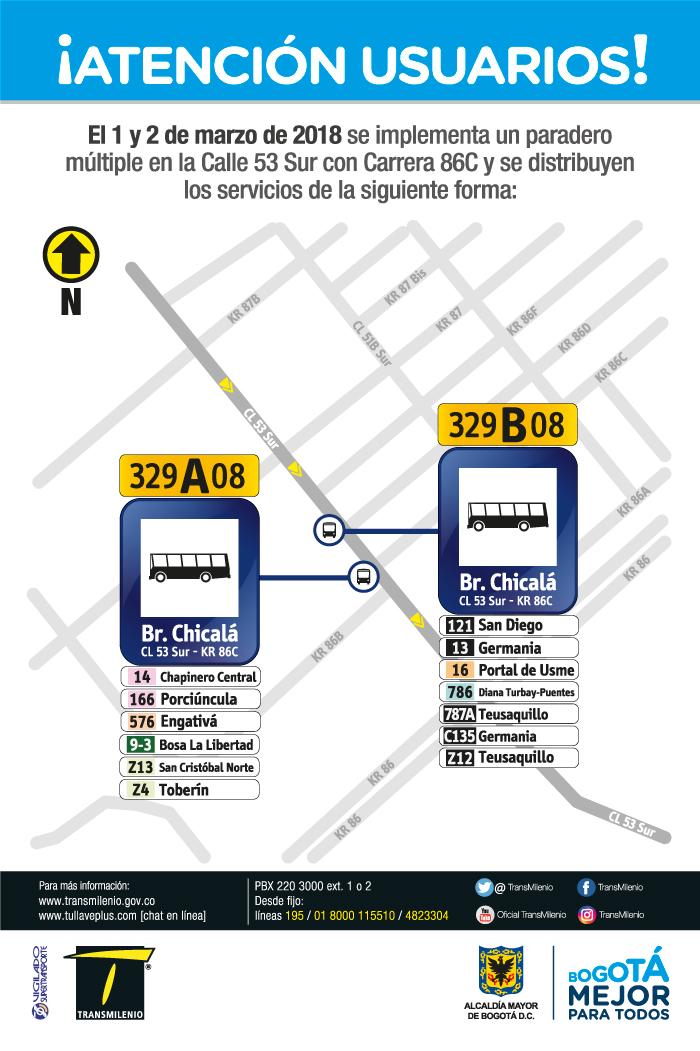 Imagen de la ubicación del paradero múltiple Calle 53 Sur con Carrera 86C.