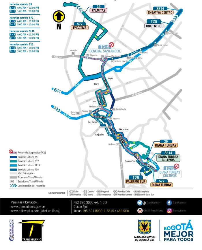 Mapa del recorrido de los servicios 39,577,SE14,T26