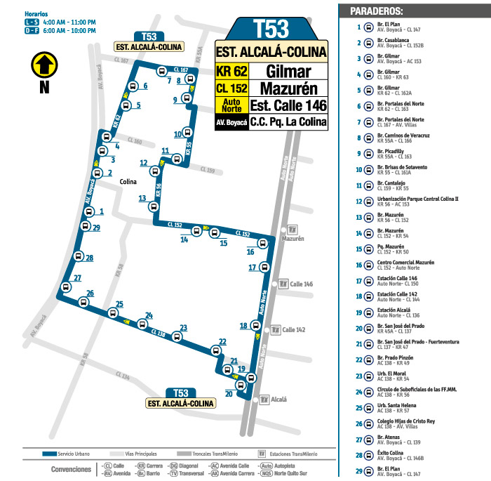 Mapa de la ruta T53