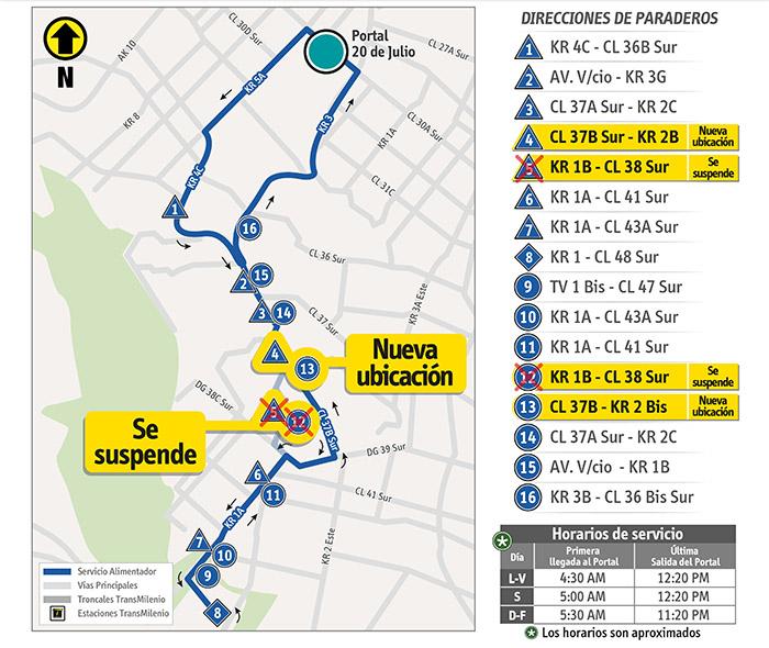 Mapa con el ajuste temporal de la ruta alimentadora 13-7