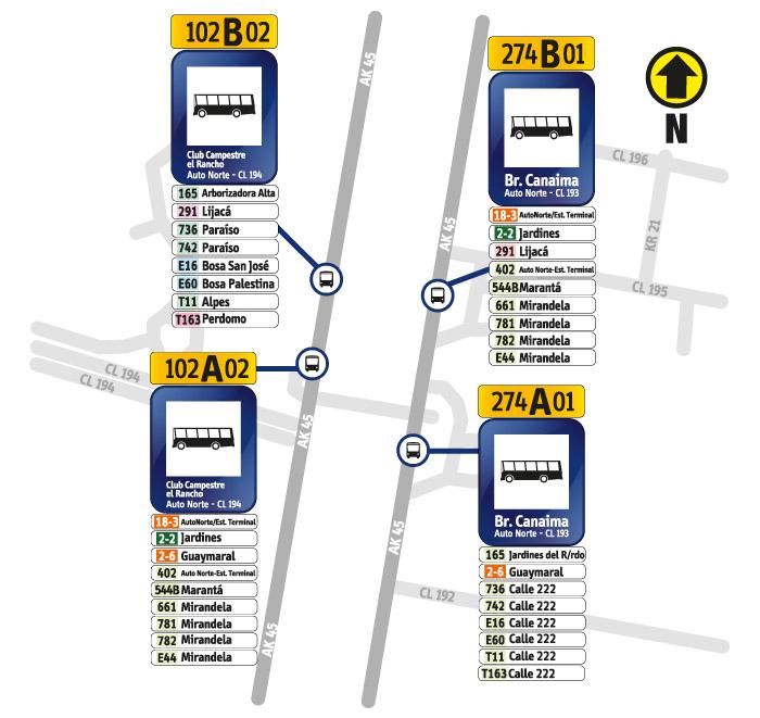 Paraderos de Autopista Norte con la calle 193 y Calle 194