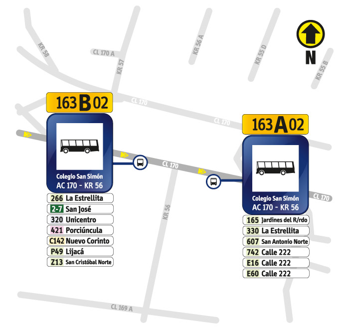 Paraderos de la avenida Calle 170 y Carrera 56
