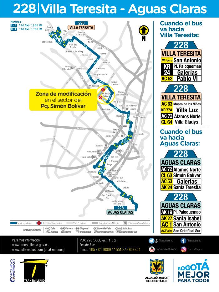Mapa con el ajuste de la ruta urbana 228