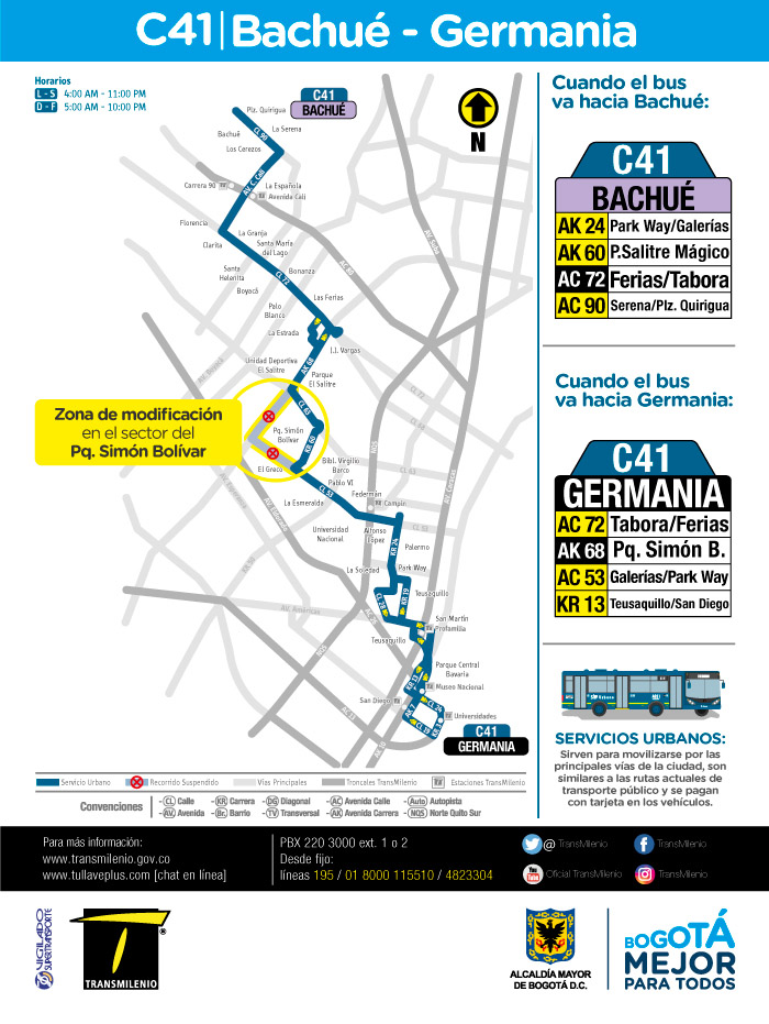 Mapa con el ajuste de la ruta urbana C41