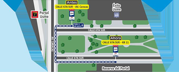 Diagrama de la ubicación nueva  del paradero 1 del servicio M83 H83