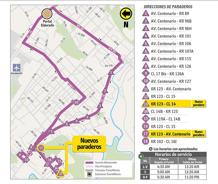 Mapa del recorrido de la ruta alimentadora  16-7