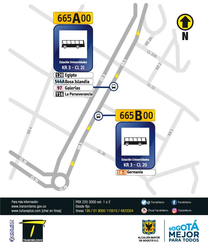 Paraderos en la Carrera 3 con Calle 20 y Calle 21