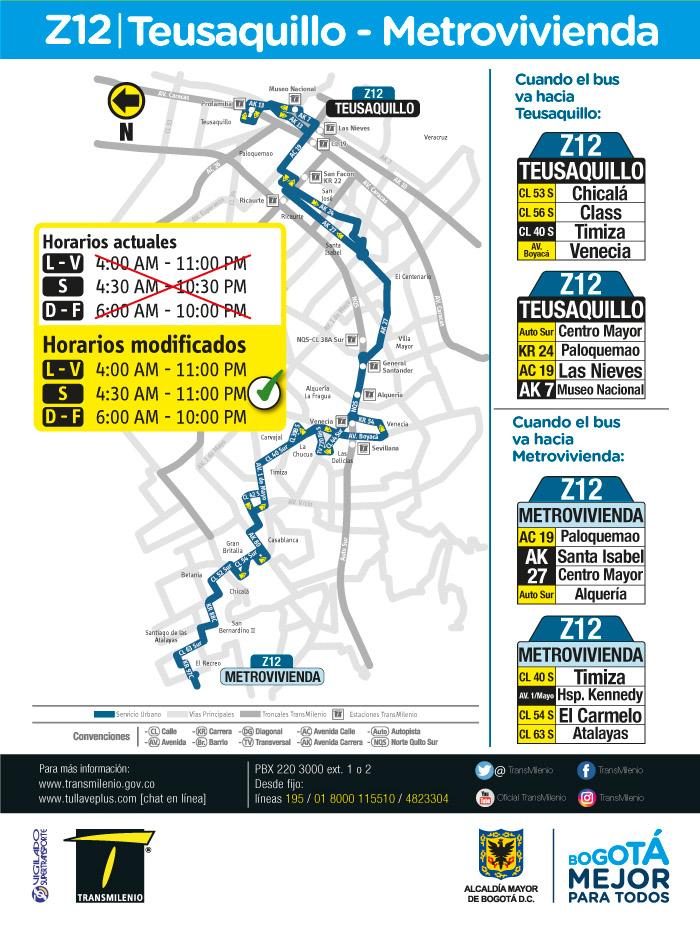 Horario, mapa, rutero de la ruta Z12 Teusaquillo Metrovivienda
