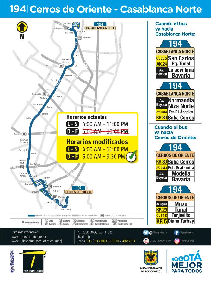 Horario, Mapa, Rutero de la ruta 194 Cerros de Oriente Casablanca Norte