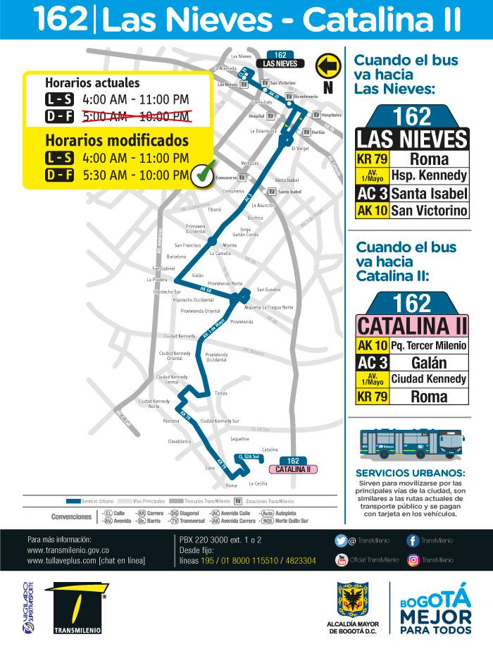 Horario, rutero y mapa de la ruta 162 Las nieves Catalina II