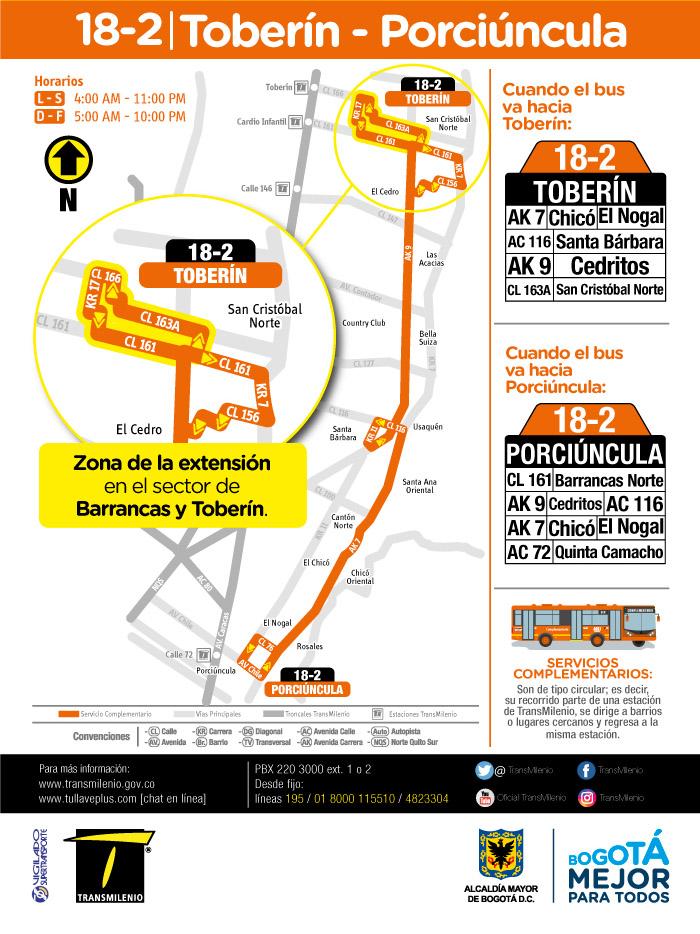 Mapa de la ruta 18-2 Toberín Porciúncula