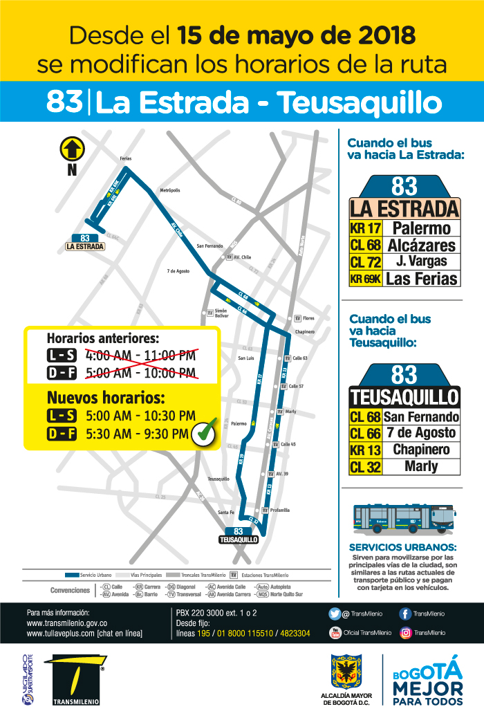 Cambios de horario de funcionamiento de la ruta 83