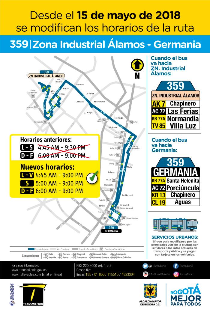 Cambios de horario de la ruta 359