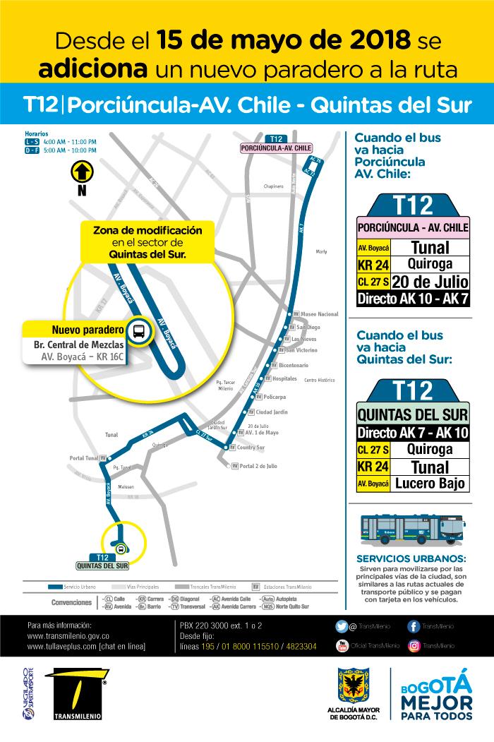 Mapa con el cambio operacional de la ruta T12