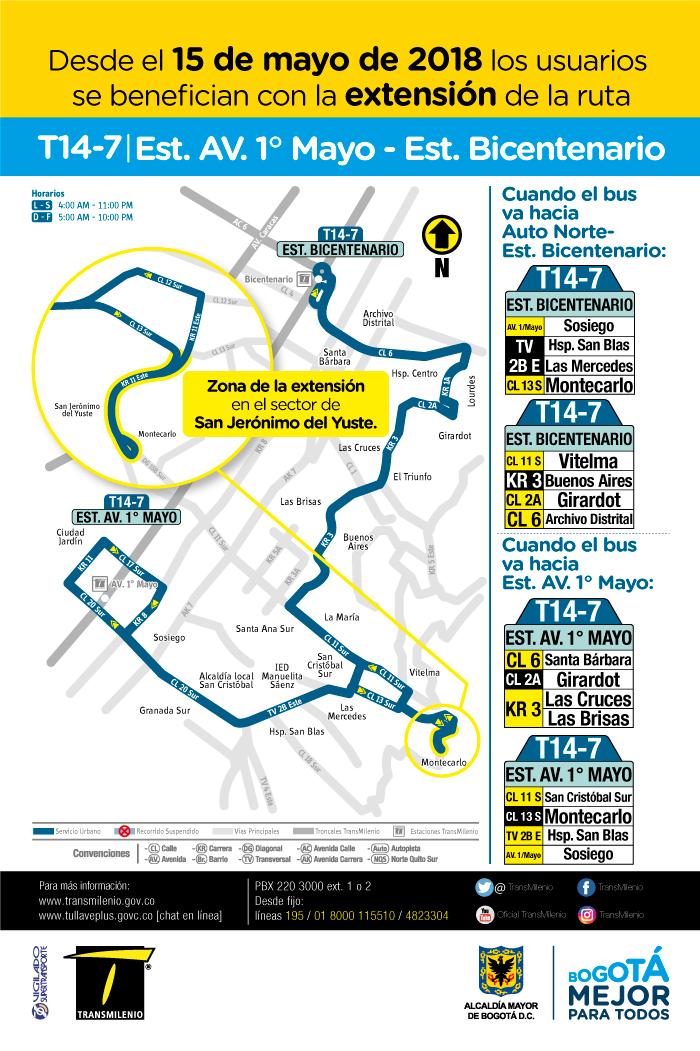 Mapa con los cambios operacionales de la ruta T14-7