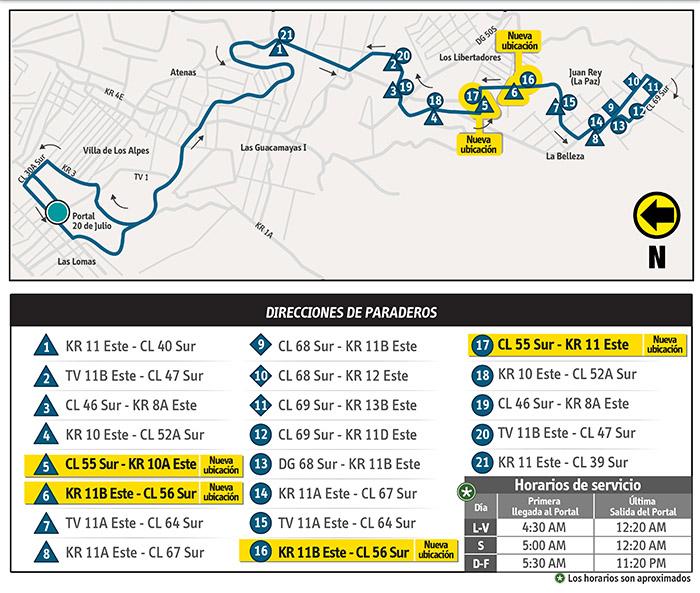 Mapa del recorrido temporal de la ruta 13-6
