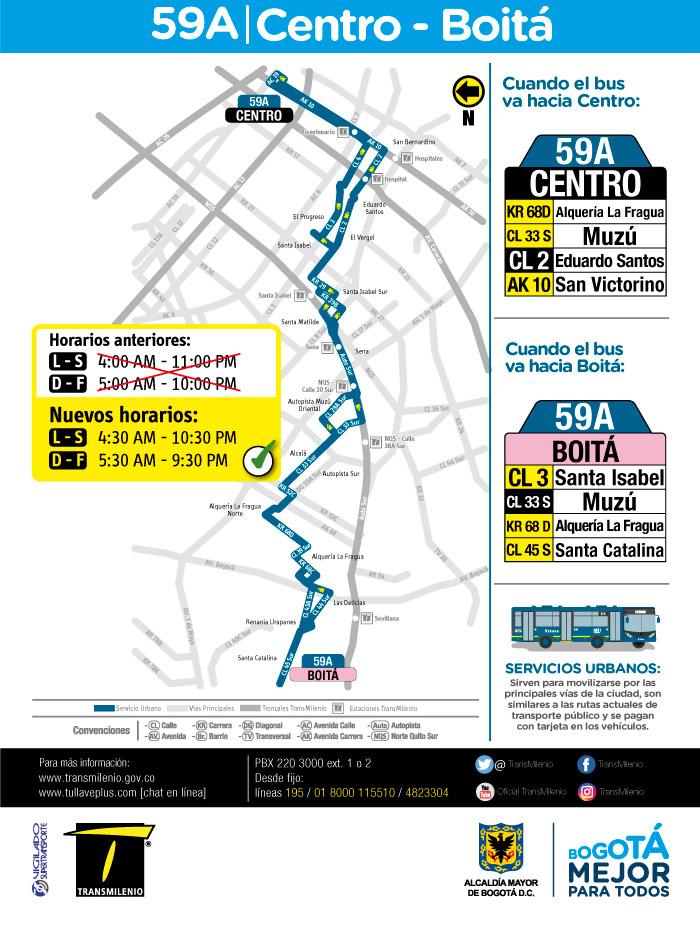 Mapa de la ruta 59A y su horario de operación