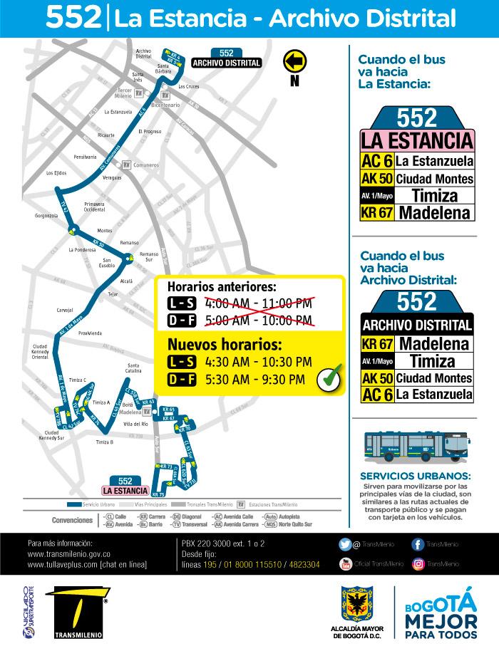 Nuevo horario del a ruta 552